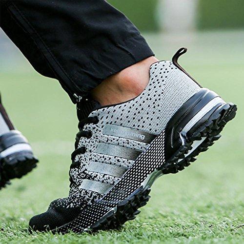Moda Zapatos Deportivos Al Aire Libre, Verano Y Otoño Zapatillas De Tela De Malla Para Senderismo Correr Escalada Respirable y Antideslizante 8702 white black
