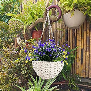 HOONAO 4pcs Artificial Fake Flowers,Faux Purple Daffodils Outdoor Greenery Plants Shrubs Plastic Bushes Indoor Outside Hanging Planter Home Garden Decoration 5