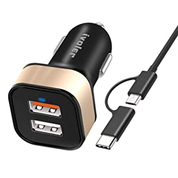 ivoler Quick Charge 3.0 30W 2 Puertos USB Cargador de Coche [QC 3.0 Puerto + Qsmart Puerto 5V/2.4A] con Cable 2 en 1 Micro USB y Tipo C (1m) para ...