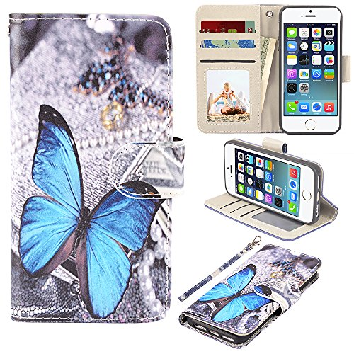 UrSpeedtekLive iPhone 5/5s/SE Case, iPhone 5/5s/SE Wallet Case, Premium PU Leather Wristlet Flip Case Cover with Card Slots & Stand for iPhone 5/5s/SE, Blue Butterfly