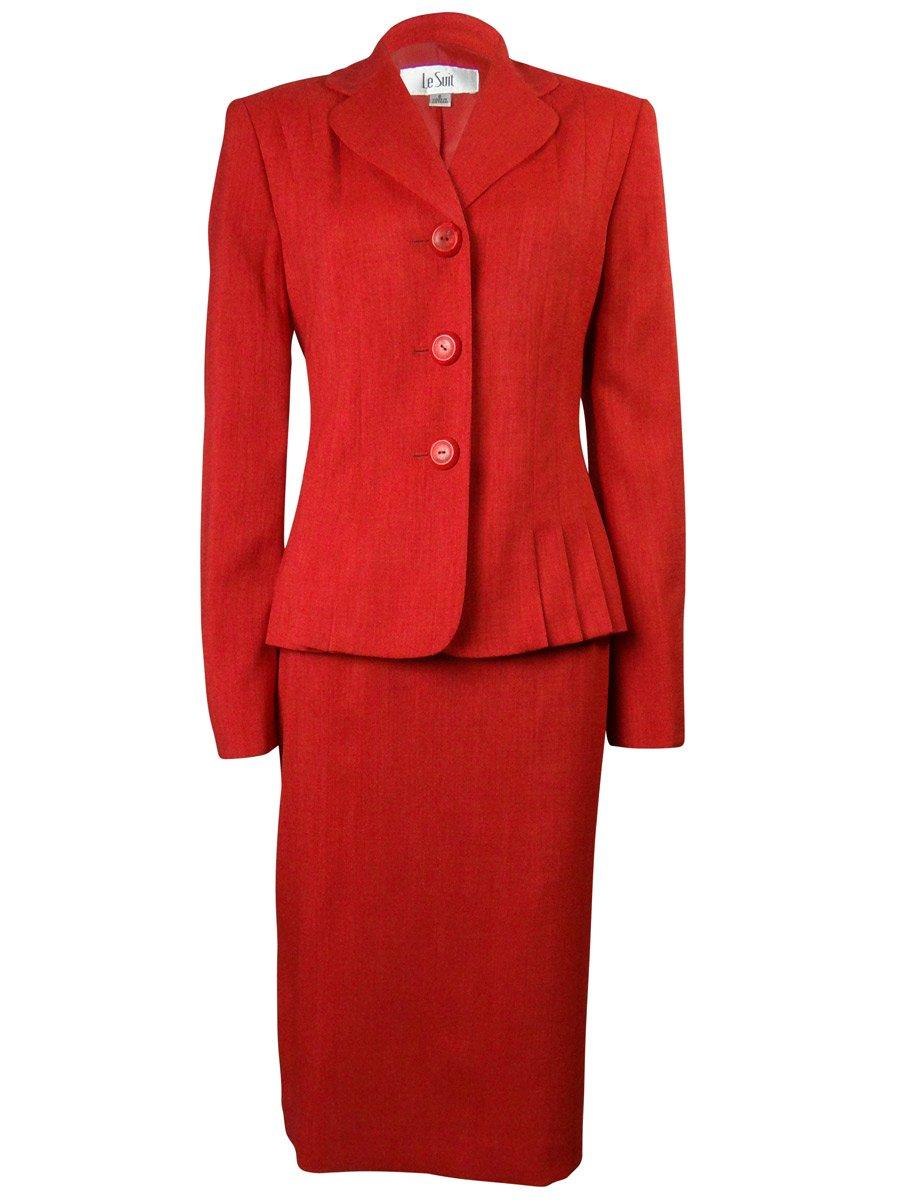 Le Suit Women's Napa Valley Pleated Skirt Suit (6, Poppy)