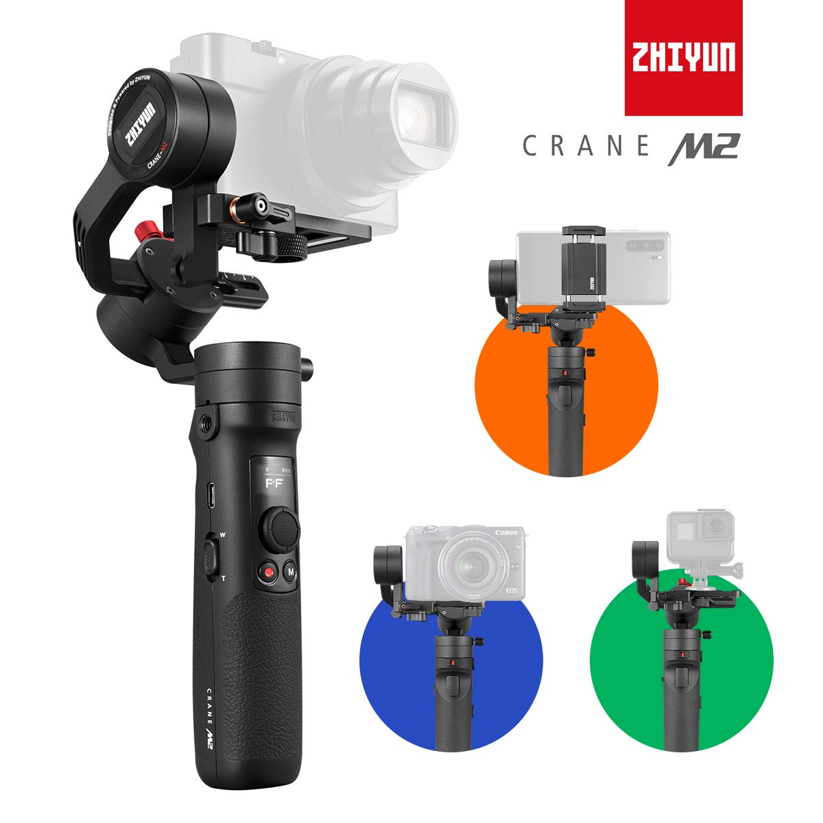 Zhiyun Crane-M2 [Official Dealer] 3-Axis Gimbal Stabilizer for Smartphones Action Camera DC Mirrorless Camera, zhiyun-crane-m2-gimbal-smartphone-stabilizer by zhi yun