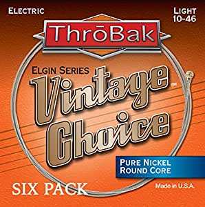 throbak vintage choice pure nickel electric guitar strings round core light 010