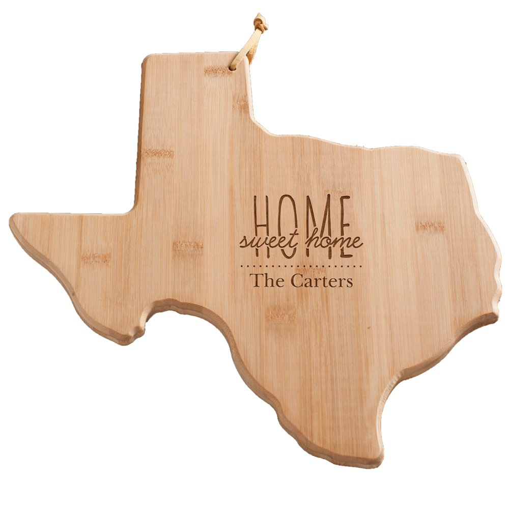 Personalized Home Sweet Home Texas Cutting Board, Bamboo, 14.25'' x 11'' x 5/8''