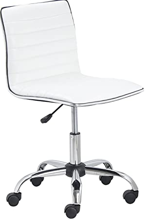 BTEXPERT 5029w BTExpert Swivel Mid Back Armless Ribbed Designer Task Chair Leather Soft Upholstery Office Chair – White