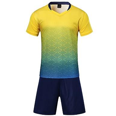041ea00d462e3 BOZEVON de Sudor Absorbente Transpirable Traje de Ropa de Fútbol para Niños  Adultos Traje de Manga Corta Conjunto de Camiseta de Fútbol  Amazon.es   Ropa y ...