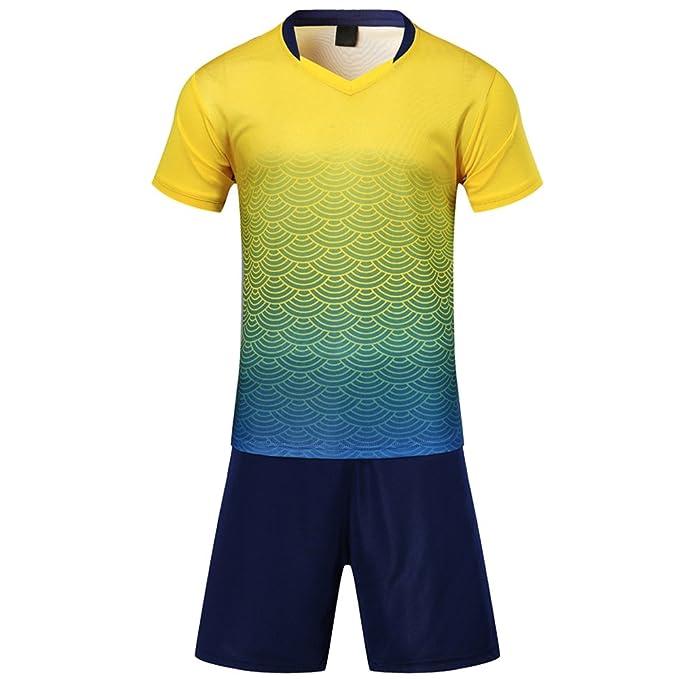 KINDOYO de Sudor Absorbente Transpirable Traje de Ropa de fútbol para niños  Adultos Traje de Manga Corta Conjunto de Camiseta de fútbol  Amazon.es   Ropa y ... 32a37bcc006ff