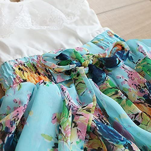 Jojobaby Little Girls Dress Summer Holiday Flower Lace Sundress Party Tutu Dresses