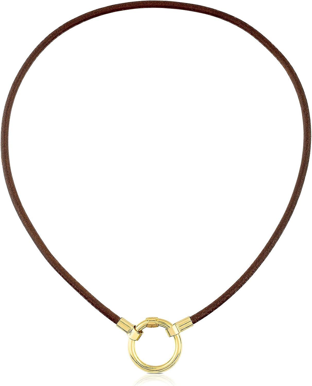 TOUS Collar Gargantilla HOLD de mujer en Plata vermeil 18 kt y cuero marrón, Largo: 38 cm, Anilla 2 cm
