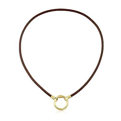 915d5b5923e0 TOUS Collar Gargantilla HOLD de mujer en Plata vermeil 18 kt y cuero  marrón