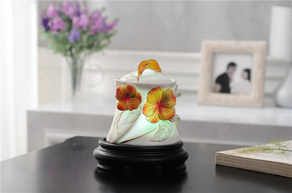 Deerbird Delicate Yellow Pansy 150ml Ceramics Aromatherapy Humidifier 7 color LED Lamp with Waterless Auto-off Function Essential Oil Diffuser by DeerBird