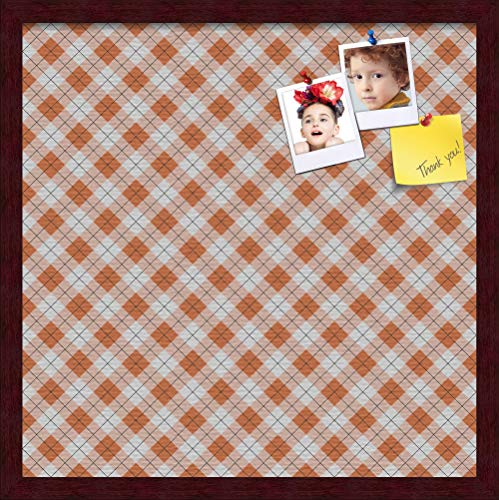 ArtToFrames 20x20 Inch Custom Cork Bulletin Board. This Argyle Burnt Orange Pin Board Comes with a Fabric Style Canvas Finish, in a Mahogany Frame (PinPix-634-20x20_FRBW26039) ()