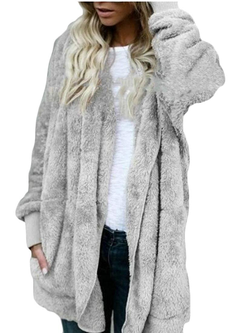 GenericWomen Long Sleeve Zip Up Lapel Fluffy versized Coats Fleece Jackets with Pockets