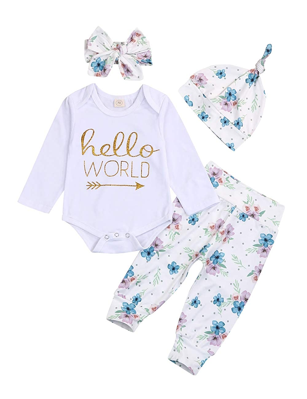 Pants Outfit Set 2pcs Baby Girl Clothes Fall Winter Long Sleeve Floral Print Hoodie