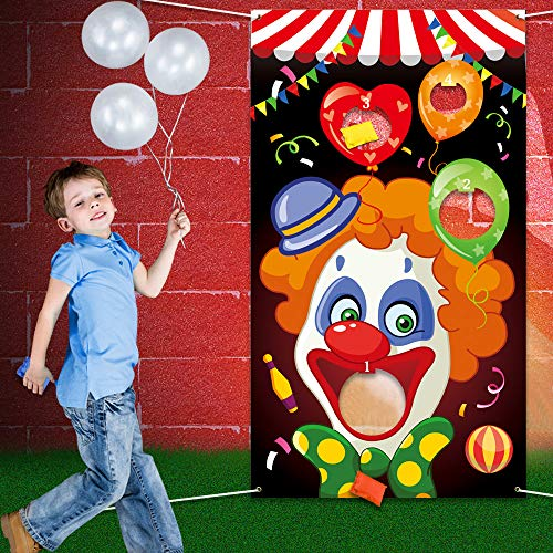 Eocolz Carnival Bean Bag Toss Games Fun Cornhole Carnival Game Set with 3 Bean Bags for Kids and Adults Carnival Party Activities Decoration (Clown) -