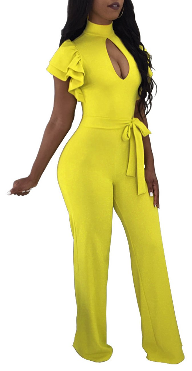 eefd87acb923 Women Sexy Solid Jumpsuits Wide Leg Pants Hollow Out Short Ruffles Sleeve  for Party Club Yellow
