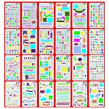 OzBSP Bullet Journal Stencil Set Plastic Planner Templates - for Scrapbooking Notebook Journaling Diary Card Letters, DIY Projects, Art Drawing | 24 Unique Premium Quality Stencils | A5 Size 4x7 inch