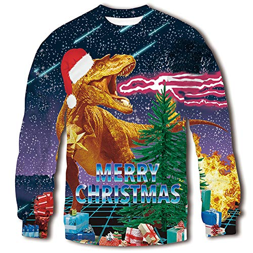 - RAISEVERN 3d Cool Christmas Dragon Santa Hat Print Funny Design Sweater Jumper for Teen Boys Girls, Santa Dragon, XX-Large