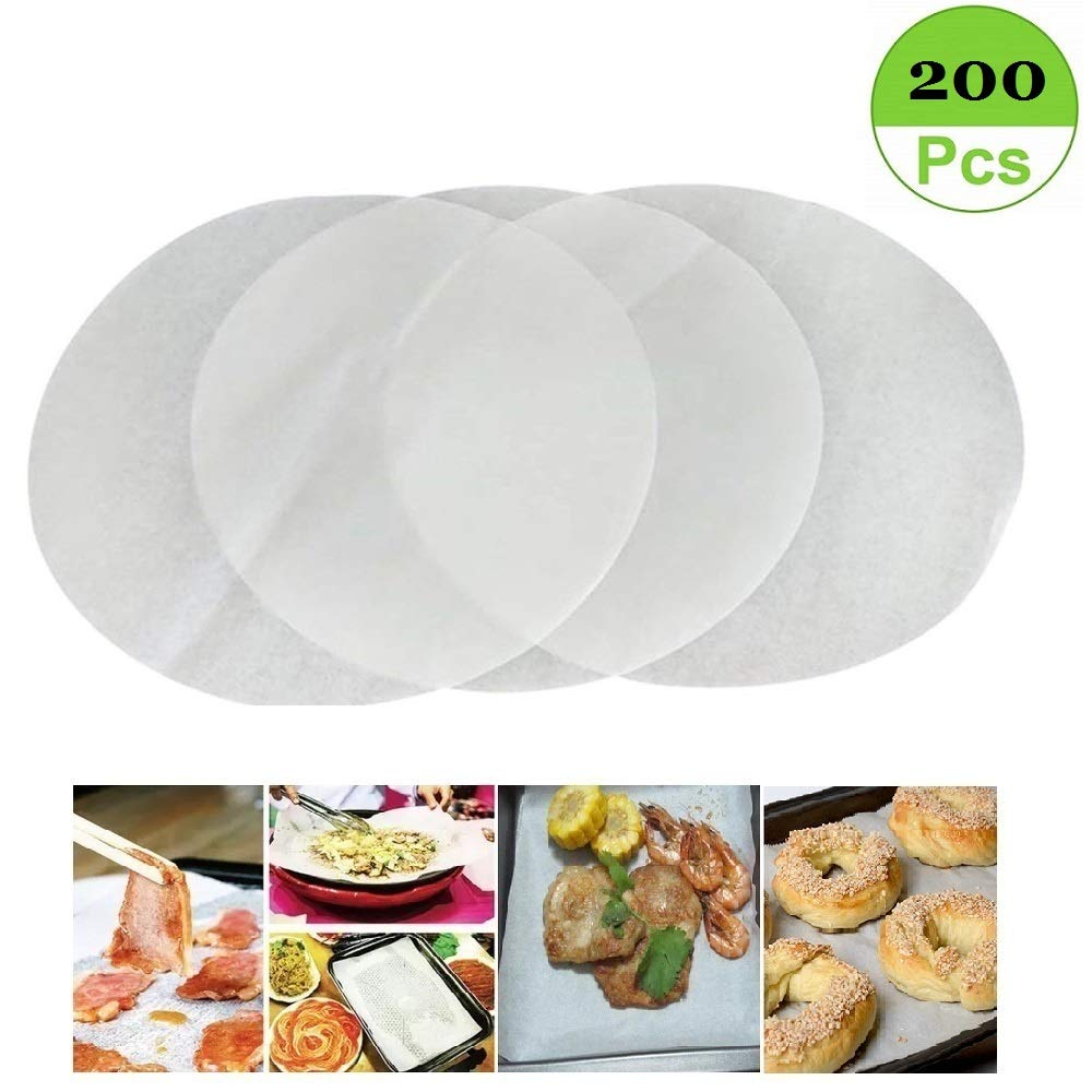 (Set of 200) Non-Stick Round Parchment Paper 6 Inch Diameter, Baking Paper Liners for Round Cake Pans Circle Mity Rain