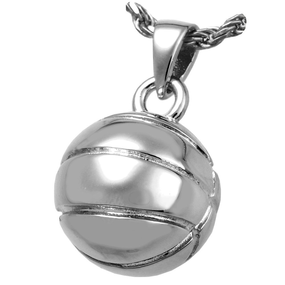 Memorial Gallery MG-3041wg Basketball 14K Solid White Gold (Allow 4-5 Weeks) Cremation Pet Jewelry