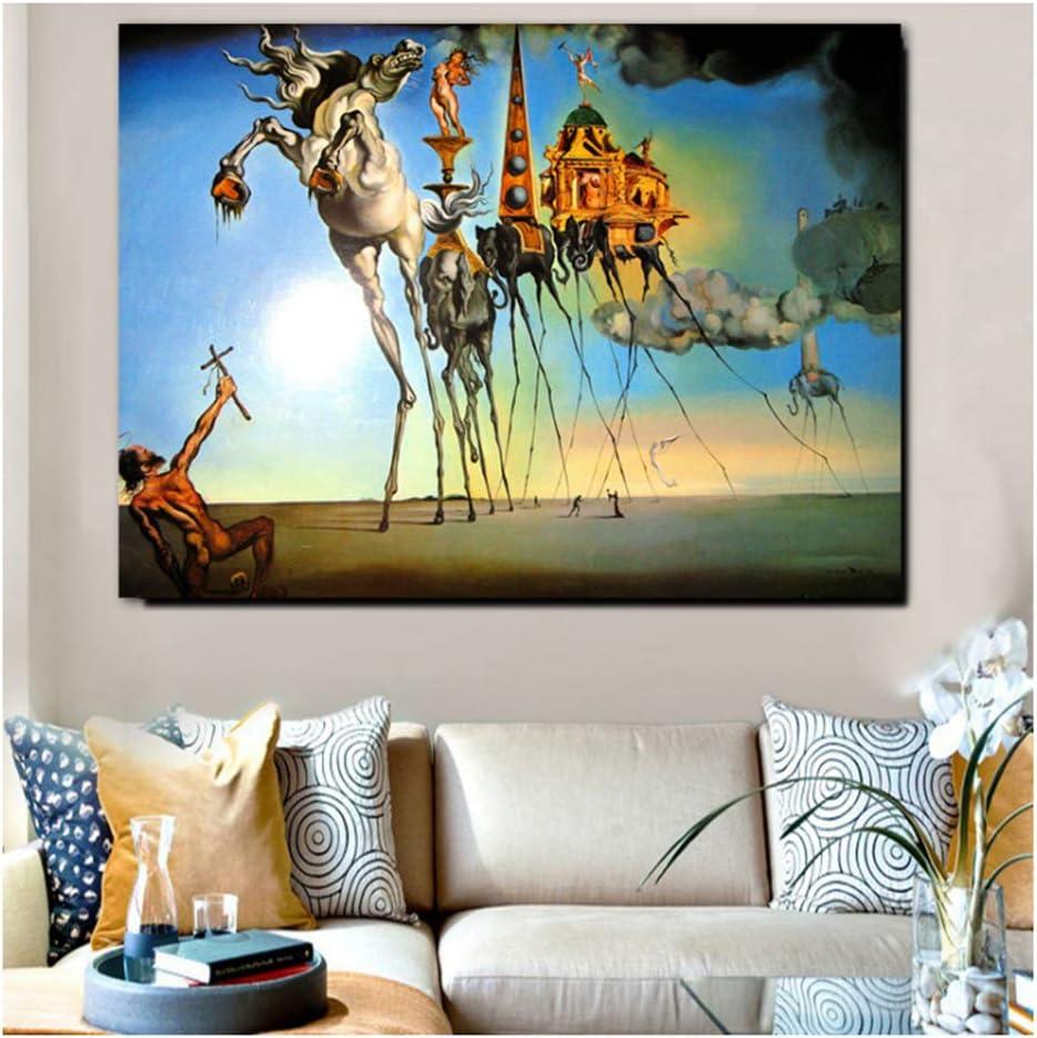 Salvador Dali Lienzo Pintura Arte Abstracto Caballo, Elefante clásico Arte de Pared Cuadros para Sala de Estar decoración del hogar impresión -60x80 cm- sin Marco