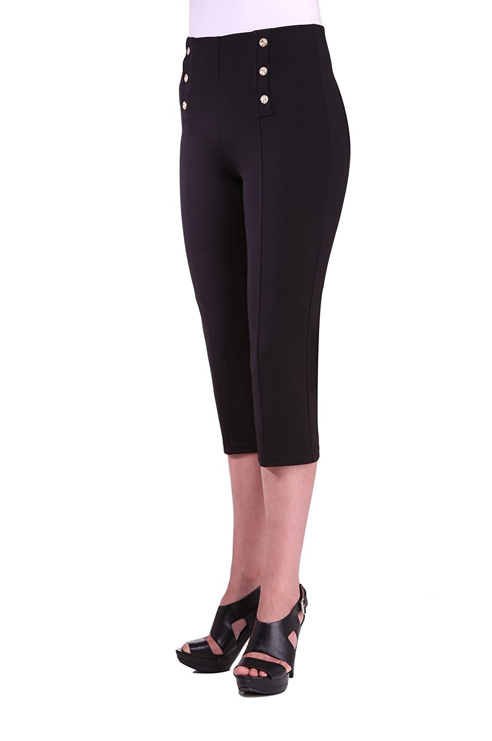Petite Women's Nautical Slimming Contour Black Capri Pants