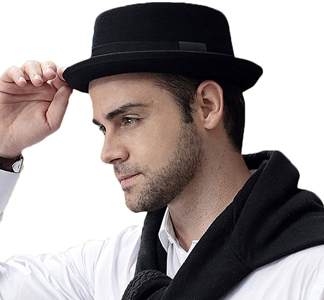 Pork Pie Hat 100/% Wool Felt Mens Porkpie Breaking Bad Hats Flat Top Mens Fedora