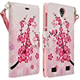 HTC One A9 Case, HTC One A9 Wallet Case, HTC Aero Case by iViva For Luxury Magnetic ID Folio Wallet Book Case (Cherry Sakura Butterfly Flora)
