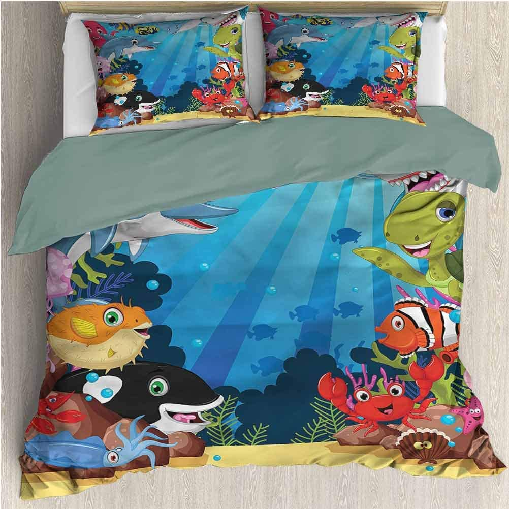 Whale Print 3-Piece Bedding Duvet Cover Set Cal King, 1 Duvet Cover & 2 Pillowcases, Shark Fin with Sea Plants All Season Quilt Set Quality Soft Silky Comfortable Breathable