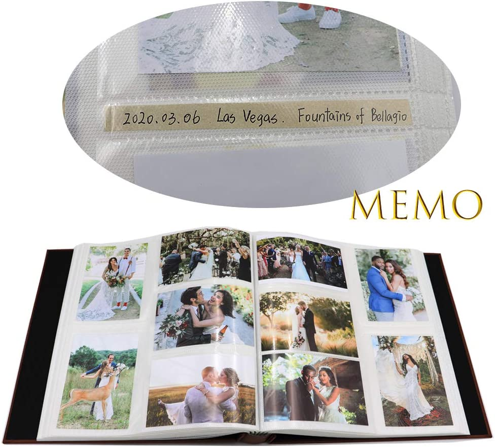 PU Leather Linen Shape Cover Sewn Bonded Extra Large Wedding Baby Memo Picture Ablums AXEARTE 4x6 Photo Album Gift for Mother Father 5 Per Page Horizontal and Vertical 600 Family Photo Album Book