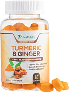 Turmeric Curcumin Gummies with Ginger, Extra Strength Chewable Vitamins Gummy, Best Vegan Joint Support Turmeric Pills - Joint Comfort for Men & Women - 60 Gummies