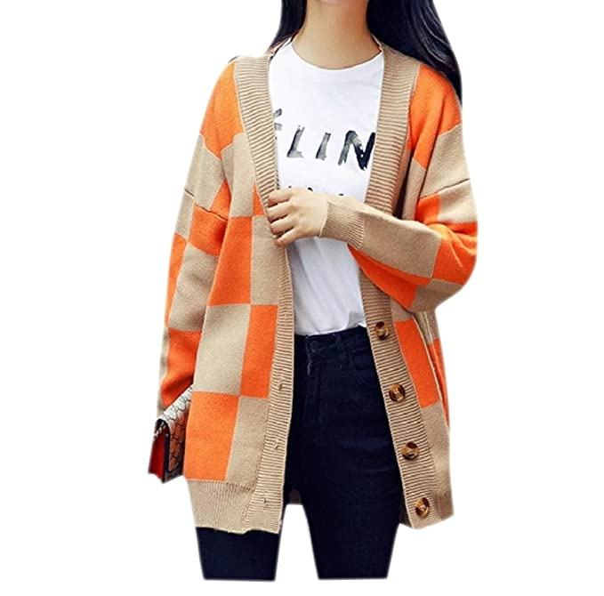 0cad3a31e Tootless-Women Outwear Relaxed Fit Knitting Plaid Cardigan Sweater Coat OS