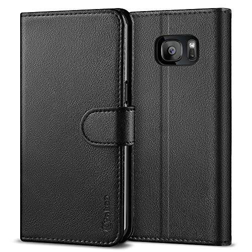 VAKOO Wallet Phone Case for Samsung Galaxy S7 Edge, Premium Flip Case and PU Leather Cover for Samsung Galaxy S7 Edge (5.5 inches) Black (Best S7 Edge Wallet Case)