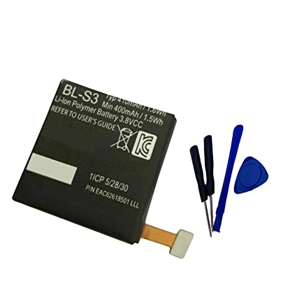 Aowe Replacement Bl-S3 BL S3 Battery for LG G Watch R W110, W150 Urbane Watch BL-S3 EAC62618501 3.8V 410mAH