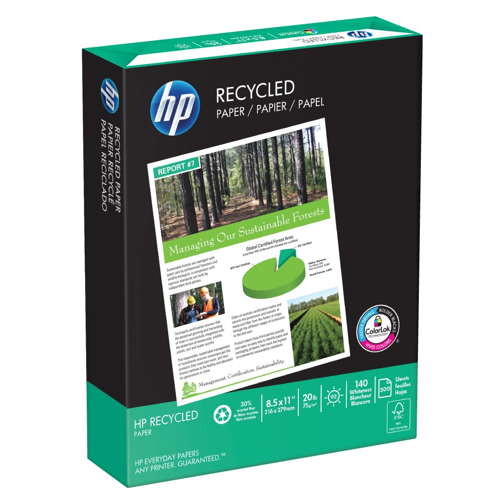 HP Paper, 30% Recycled Copy Paper, 20lb, 8.5 x 11, Letter, 92 Bright, 500 Sheets / 1 Ream ,(112100R), Made In The USA