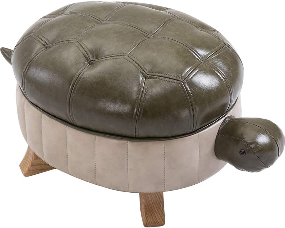 Kelendle Animal Footstool Turtle Upholstered Ottoman PU Leather Pouf Wood Foot Stool Rest for Living Room Bedroom Sofa Bench Seat Chair, Green, Large