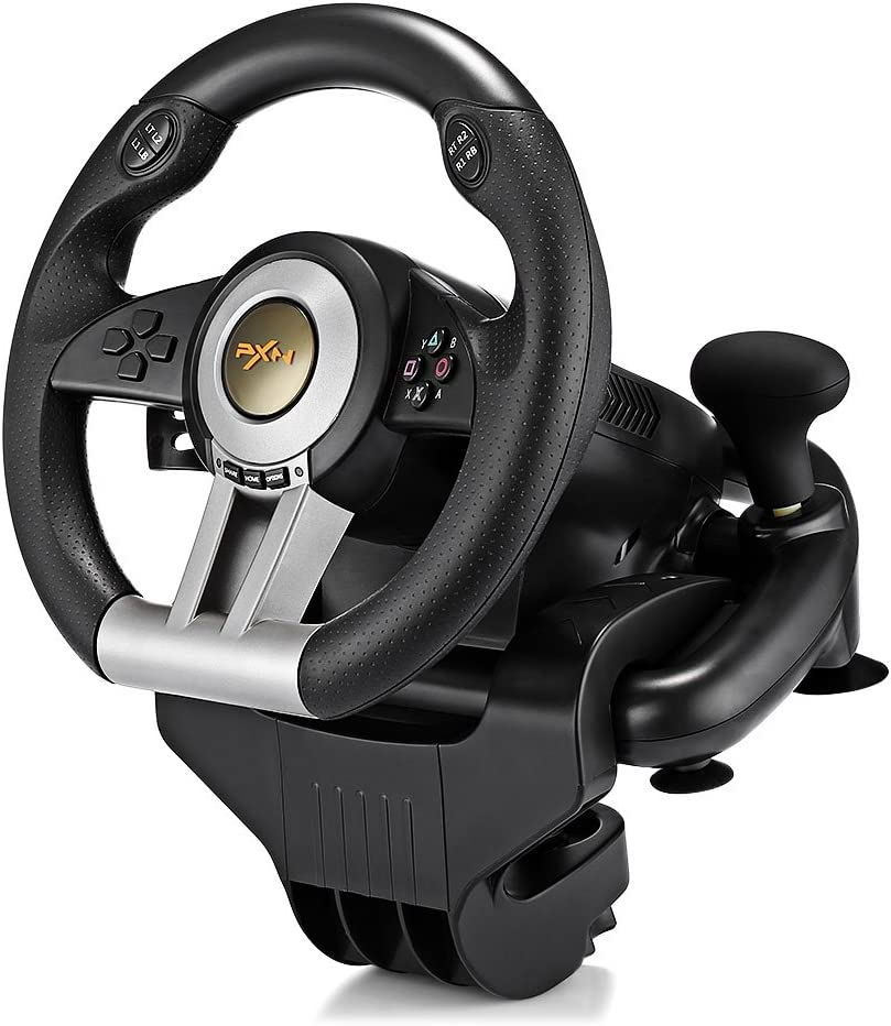 PXN V3II Racing Game Steering Wheel with Brake Pedal Smart Electricer