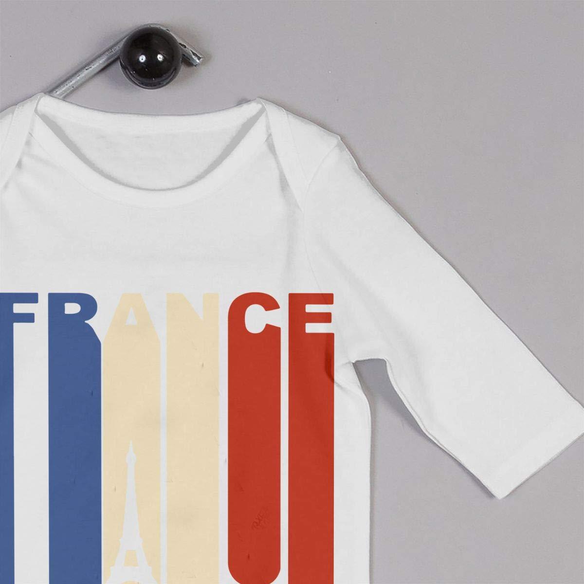 Newborn Baby Boys Girls Cotton Long Sleeve Vintage Retro 1970s Style Eiffel Tower France Flag Climb Romper Romper Clothes