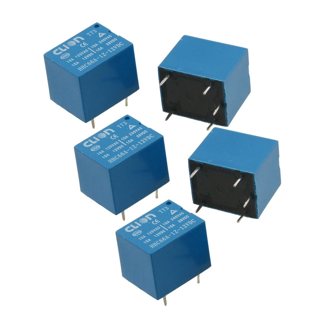 Uxcell 5 Pcs Dc 12v Coil Spdt Pin Mini Power Relays Pcb Type Datasheet Of Relay Hhc66a 1z 12vdc Industrial Scientific