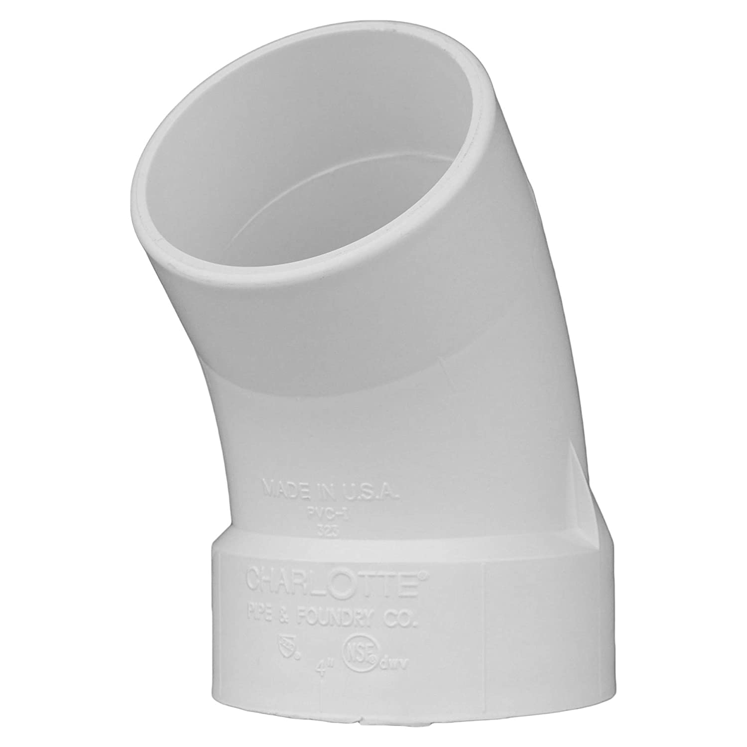 Drain, Waste and Vent Single Unit Schedule 40 Charlotte Pipe 1-1//2 DWV 1//8 Bend Street PVC DWV