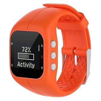 Malloom Reemplazo Suave Goma Silicona Reloj Correa Banda muñeca para Polar A300 Fitness Watch (Naranja