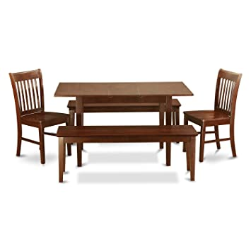 Enjoyable Nofk5C Mah W 5 Pc Kitchen Table With Bench Set Table Plus 2 Kitchen Chairs And 2 Benches Machost Co Dining Chair Design Ideas Machostcouk