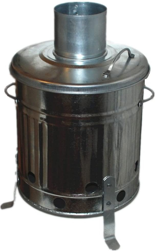MINI GARDEN INCINERATOR SMALL FIRE BIN METAL GALVANISED 15L BURNING WOOD