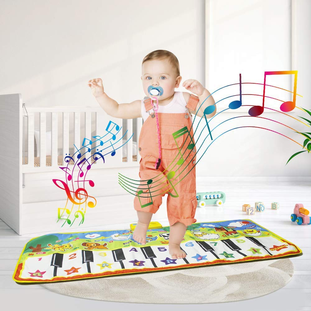 Joyfia Piano Mat, 53.2'' Electronic Music Piano Keyboard Carpet Animal Blanket Touch Dance Play Mat Toys, Baby Early Education Gifts for Kids Toddler Infant Boys Girls by Joyfia (Image #7)
