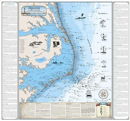 Amazon Com Beautiful Map Of North Carolina Shipwreck Chart