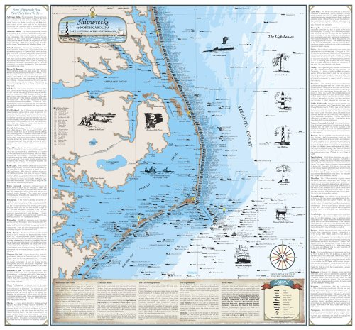Beautiful Map of North Carolina Shipwreck Chart - Explore Cape Hatteras and Outer Banks (Paper)
