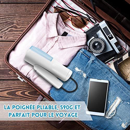 Défroisseur Vapeur Portable, Repassage Vapeur Pliable, 3 Niveaux de Vapeur, Réchauffage Rapide pour Vêtements, Léger et Parfait pour le Voyage