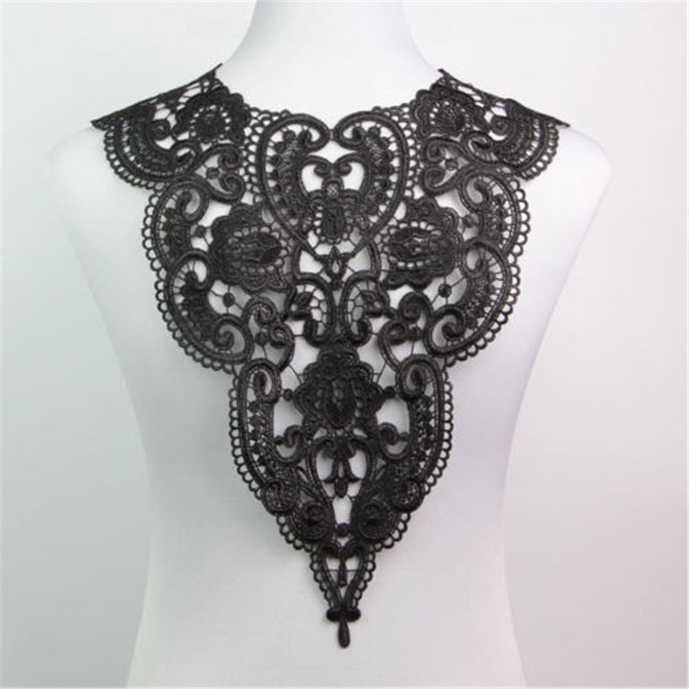 Yontree Neckline Collar Costume Venise Lace Applique Bridal Wedding Applique Black 1 Pc