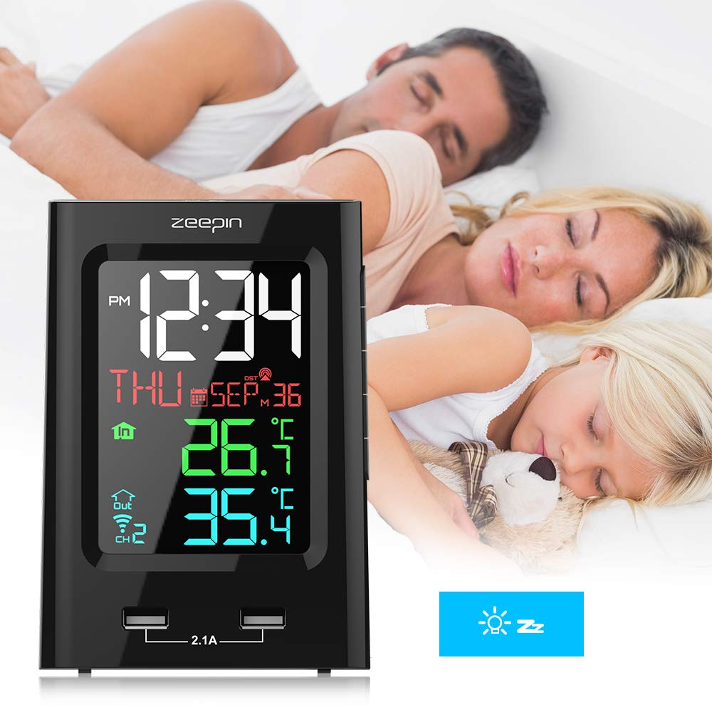 ZEEPIN Wireless Color Alarm Clock Indoor Outdoor Thermometer with Wireless Sensor and Two USB Charger for Home