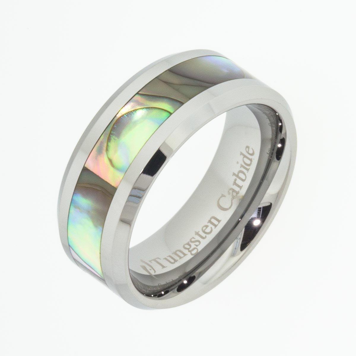 Amazon Tungsten Carbide Rings Abalone Shell Gift Band 8 Mm Wedding Ring Handmade: Carbide Abalone Wedding Rings At Websimilar.org